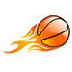 Basketball mit Feuerspur