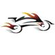 Motorrad mit Feuerspur und Bewegungsspuren