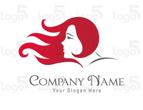 Friseur Logo - Rotharige Frau mit Haare im Wind