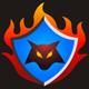 Wolf im Wappen mit Flammen