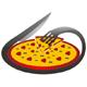 Leckere Pizza Logo mit umkreisenden Gabel