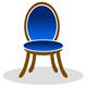 Stuhl mit blauen Samt Bezug