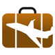 Urlaubskoffer mit Flugzeugsilhouette