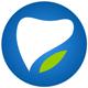 Logo für Zahnarzt auf einem blauen Kreis