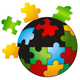 Kugel aus einzelnen bunten Puzzleteilen
