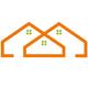 Logo für Immobilienmakler - Drei vebundene Häuser