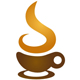 Cafè Logo - Kaffetasse mit aufsteigenden dampf