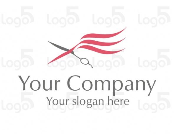 Friseur Logo - Schere mit im Wind wehenden Haaren