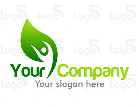 Gesundheit Logo - Person streckt sich im Blatt