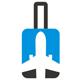 Flüge Logo - Reisekoffer mit einem Flugzeug
