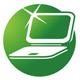 Nagelneues Notebook auf einem grünen Kreis.