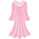 Kleid in Muschelform mit einer Perlenkette