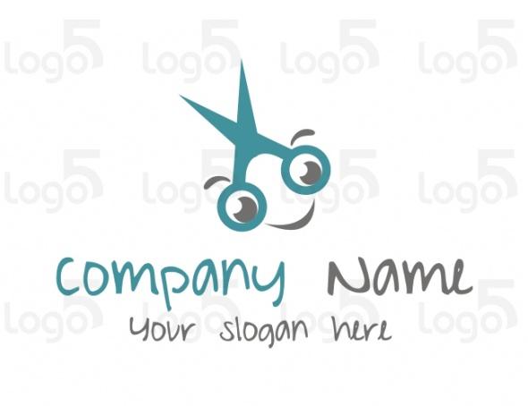 Schere mit Gesicht - Friseur Logo