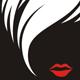 Haare und rote Lippen - Logo für Kosmetiker