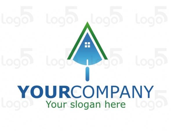 Spachtel im Hausform - Logo für Bauunternehmen