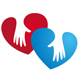 2 Hände die Herzen berühren