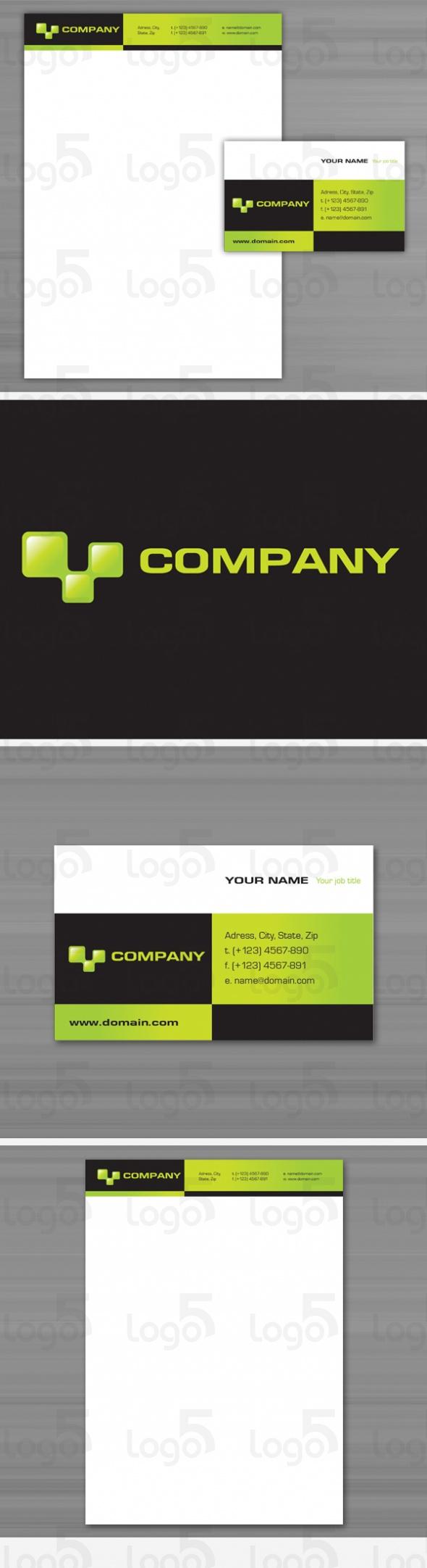 Geschäftspapier Set 18- Netzwerk - grüne Rechtecke