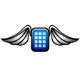 Smartphone mit Flügeln