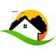 Haus im grünen mit fliegenden Möven