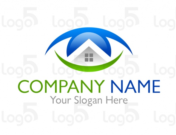 Haus im Sicht - Haus Logo in Form eines Auges