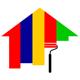 Maler Logo - Haus mit verschiedenen Anstrichen