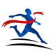 Athletischer Sportler rennt durch das Zielgeraden