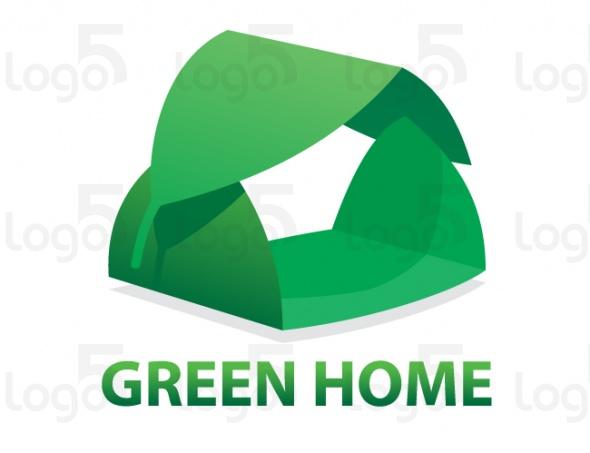 Grünes Haus - Haus mit einem Dach aus einem Blatt