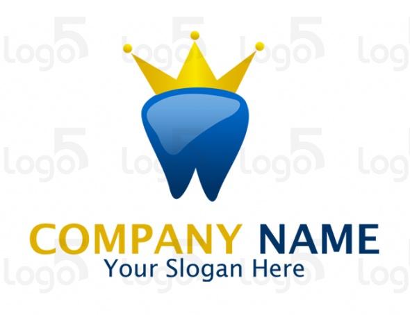 Zahn mit goldener Krone - Zahnarzt Logo