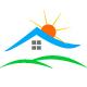 Hausdach mit Sonne und grüner Wiese