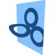 drei Kreise mit blauem viereckigen Hintergrund